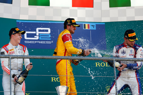 Antonio Giovinazzi (ITA, PREMA Racing) Gustav Malja (SWE, Rapax) and Luca Ghiotto (ITA, Trident)  2016 GP2 Series Round 6 Spa-Francorchamps, Spa, Belgium Sunday 28 August 2016  Photo: Sam Bloxham/GP2 Series Media Service ref: Digital Image _SBB6194