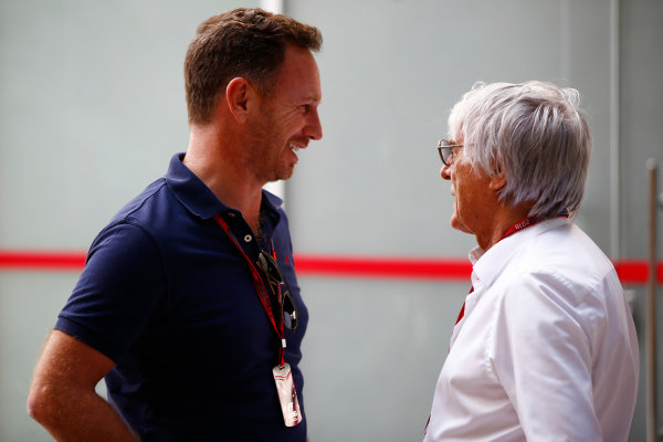 Interlagos, Sao Paulo, Brazil. Thursday 10 November 2016. Bernie Ecclestone, CEO and President, FOM, talks to Christian Horner, Team Principal, Red Bull Racing.  World Copyright: Andy Hone/LAT Photographic ref: Digital Image _ONZ4545
