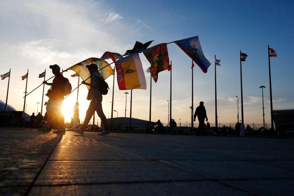 Sochi Autodrom, Sochi, Russia. Sunday 12 October 2014. The sun sets on the track. World Copyright: Charles Coates/LAT Photographic. ref: Digital Image _N7T7239