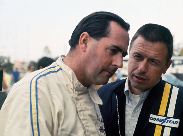 Jack Brabham in converstion with Leo Mehl, Goodyear tyres, portrait.World Copyright: LAT Photographic.Ref: Colour Transparency.