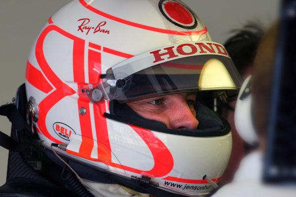 2004 British Grand Prix - Friday Practice,Silverstone, Britain. 09th July 2004 Jenson Button, BAR Honda 006, sporting his new crash helmet design.World Copyright: Steve Etherington/LAT Photographic ref: Digital Image Only