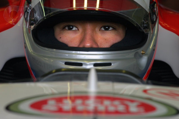 2004 Belgian Grand Prix - Friday Practice,Spa-Francorchamps, Belgium. 27th August 2004 Takuma Sato, BAR Honda 006, stares out from his crash helmet.World Copyright: Steve Etherington/LAT Photographic ref: Digital Image Only