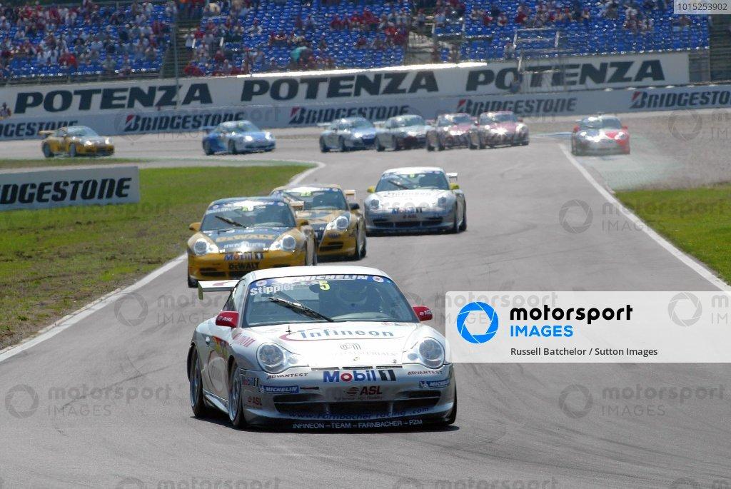 Frank Stippler (GER) Infineon - Team Farnbacher leads.Porsche Supercup, Rd8, Hockenheim, Germany,3 August 2003.DIGITAL IMAGE