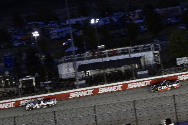 #51: Brandon Jones, Kyle Busch Motorsports, Toyota Tundra Chigo/Menards and #18: Harrison Burton, Kyle Busch Motorsports, Toyota Tundra Safelite AutoGlass