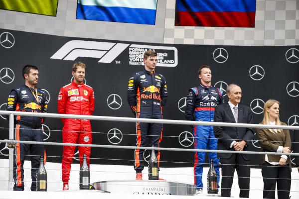 Sebastian Vettel, Ferrari, Race Winner Max Verstappen, Red Bull Racing and Daniil Kvyat, Toro Rosso on the podium