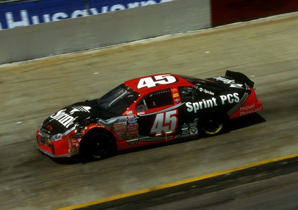 Showing some front end bodywork damage races around the track at Bristol this past March.