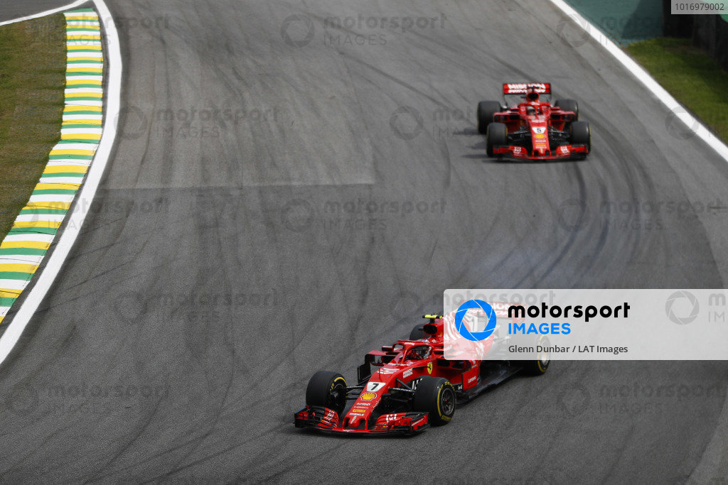 Kimi Raikkonen, Ferrari SF71H, leads Sebastian Vettel, Ferrari SF71H.