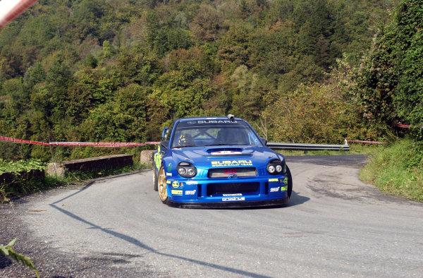2002 World Rally Championship.Rallye d'Italia, 20-22 September.Sanremo, Italy.Tommi Makinen during shakedown.Photo: Ralph Hardwick/LAT