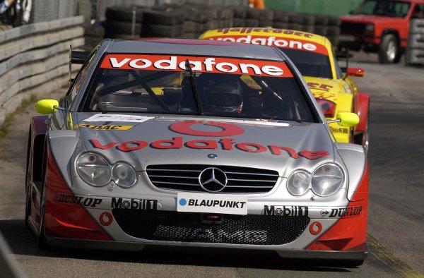 2002 DTM Championship Norisring, Germany. 29th - 30th June 2002. Bernd Schneider (HWA Mercedes) leads eventual race winner Laurent Aiello (Abt Audi TT-R), action.World Copyright: Andre Irlmeier/LAT Photographic