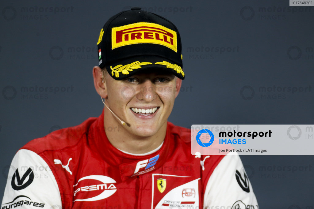 HUNGARORING, HUNGARY - AUGUST 04: Race Winner Mick Schumacher (DEU, PREMA RACING) in the press confrence during the Hungaroring at Hungaroring on August 04, 2019 in Hungaroring, Hungary. (Photo by Joe Portlock / LAT Images / FIA F2 Championship)