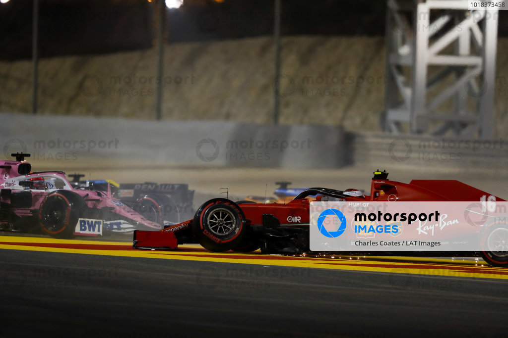 Charles Leclerc, Ferrari SF1000 with broken front suspention after a first lap crash with Sergio Perez, Racing Point RP20