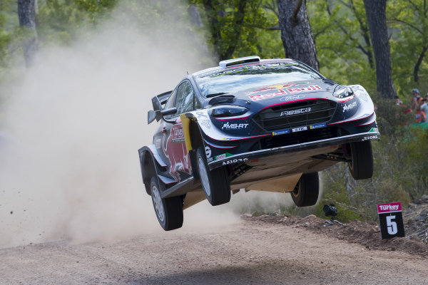 Elfyn Evans, M-Sport Ford, Ford Fiesta WRC 2018, flying high on the Shakedown test