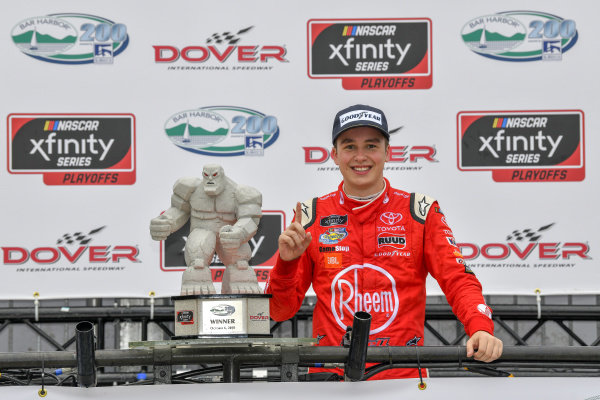 Christopher Bell wins the Bar Harbor 200 at Dover International Raceway in the Rheem Toyota Camry.   #20: Christopher Bell, Joe Gibbs Racing, Toyota Camry Rheem