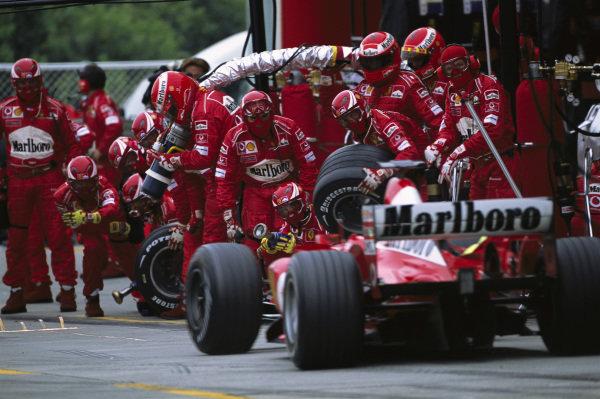 Rubens Barrichello, Ferrari F2003-GA, entering the pits.