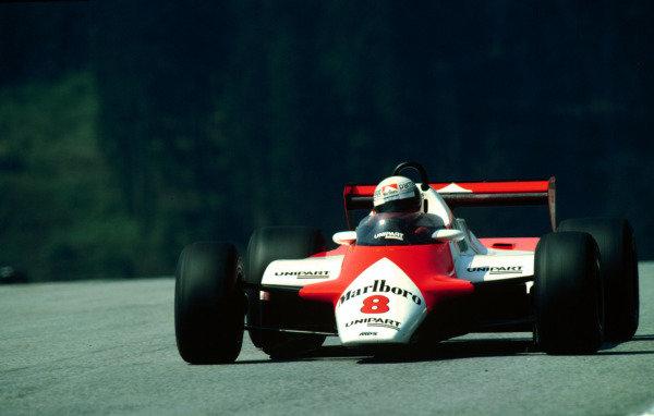 1982 Austrian Grand Prix.Osterreichring, Zeltweg, Austria.13-15 August 1982.Niki Lauda (McLaren MP4/1B Ford) 5th position.World Copyright - LAT Photographic