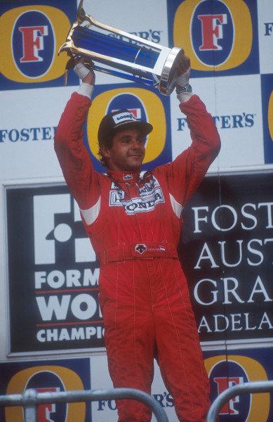 1992 Australian Grand Prix.Adelaide, Australia.6-8 November 1992.Gerhard Berger (McLaren Honda) 1st position on the podium.Ref-92 AUS 25.World Copyright - LAT Photographic