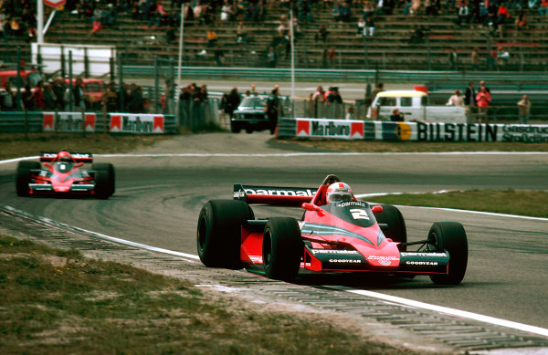 1978 Dutch Grand Prix.Zandvoort, Holland.25-27 August 1978.John Watson followed by teammate Niki Lauda (both Brabham BT46 Alfa Romeo's). They finished in 4th and 3rd places respectively. Ref-78 HOL 12.World Copyright - LAT Photographic