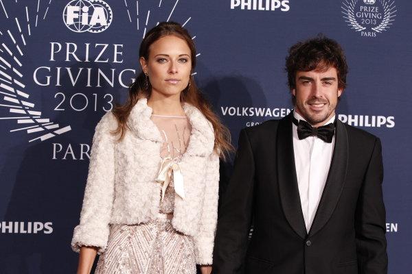2013 FIA Gala Dinner and Awards. Paris, France. Friday 6th December 2013. Fernando Alonso with girlfriend Dasha Kapustina. World Copyright & Mandatory Credit: FIA. ref: Digital Image 11242055695_4a63b33e4a_o