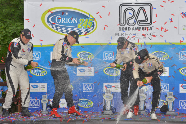 9-11 August, 2013, Elkhart Lake, Wisconsin USA #551 & #552 Level 5 Motorsports HPD drivers and champagne shower ©Dan R. Boyd LAT Photo USA