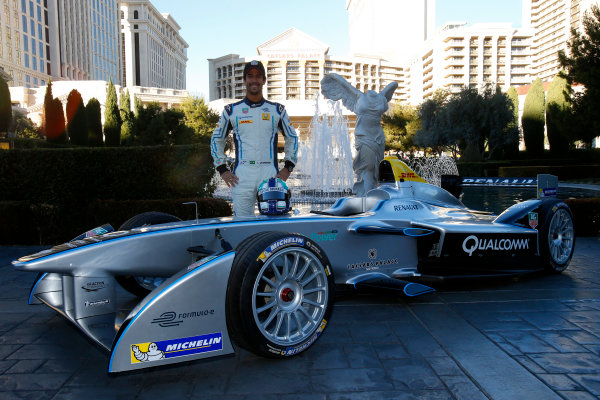 5-6 January, 2014, Las Vegas, Nevada USA Former F1 driver Lucas di Grassi poses with the new Spark-Renault SRT_01E Formula E car ©2014, Lesley Ann Miller LAT Photo USA