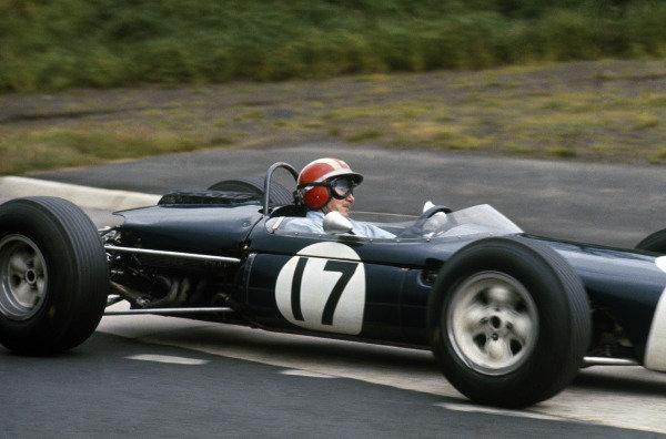 Nurburgring, Germany. 30/7 - 1/8 1965. Jo Siffert, Brabham BT11-BRM. World Copyright: LAT Photographic. Ref: 65GER05.