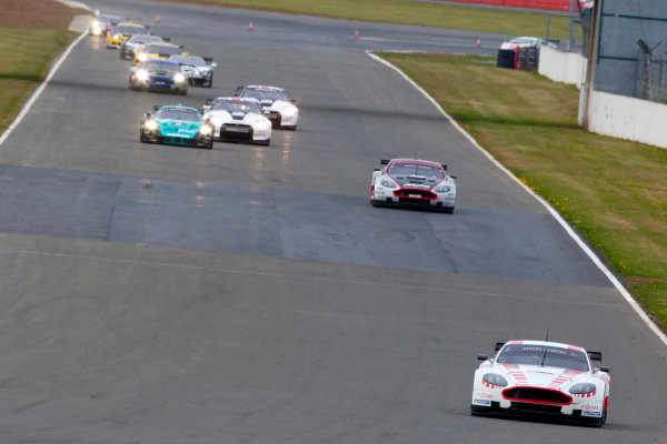 Silverstone, England. 30th April - 2nd May 2010.Darren Turner / Tomas Enge, (Young Driver AMR, Aston Martin DB9) leads the field. Action. World Copyright: Alastair Staley/LAT PhotographicRef: _O9T6893 jpg