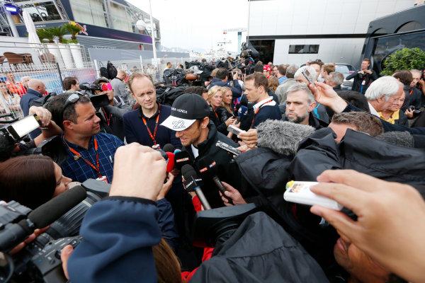 Monte Carlo, Monaco. Thursday 21 May 2015. Jenson Button, McLaren, talks to the media. World Copyright: Alastair Staley/LAT Photographic. ref: Digital Image _79P0295