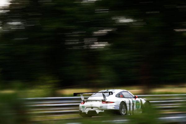 2015 Le Mans 24 Hours. Circuit de la Sarthe, Le Mans, France. Wednesday 10 June 2015. Porsche Team Manthey (Porsche 911 RSR - GTE Pro), Richard Lietz, Michael Christensen, Jorg Bergmeister.  Photo: Sam Bloxham/LAT Photographic. ref: Digital Image _G7C5235