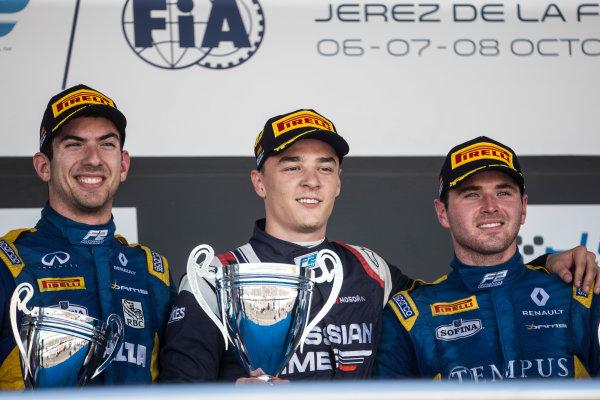 2017 FIA Formula 2 Round 10. Circuito de Jerez, Jerez, Spain. Sunday 8 October 2017. Nicholas Latifi (CAN, DAMS), Artem Markelov (RUS, RUSSIAN TIME), Oliver Rowland (GBR, DAMS) on the podium. Photo: Andrew Ferraro/FIA Formula 2. ref: Digital Image _FER3731