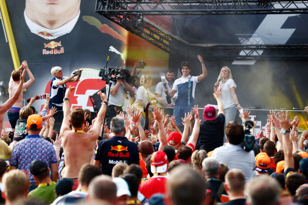 Spa Francorchamps, Belgium.  Saturday 26 August 2017. Lance Stroll, Williams Martini Racing, on stage in the F1 Fanzone. World Copyright: Sam Bloxham/LAT Images  ref: Digital Image _J6I9202