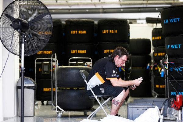 Bahrain International Circuit, Sakhir, Bahrain.  Thursday 13 April 2017. A member of the Force India team prepares tyres for the weekend. World Copyright: Glenn Dunbar/LAT Images ref: Digital Image _X4I7139
