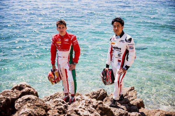 2017 FIA Formula 2 Round 3. Monte Carlo, Monaco. Wednesday 24 May 2017. Charles Leclerc (MCO, PREMA Racing), Nobuharu Matsushita (JPN, ART Grand Prix). Photo: Zak Mauger/FIA Formula 2. ref: Digital Image _54I4803