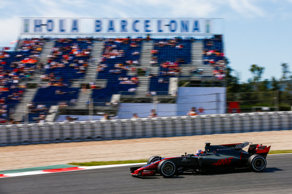 Circuit de Catalunya, Barcelona, Spain. Saturday 13 May 2017. Romain Grosjean, Haas VF-17. World Copyright: Andy Hone/LAT Images ref: Digital Image _ONZ4977