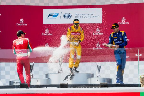2017 FIA Formula 2 Round 4. Baku City Circuit, Baku, Azerbaijan. Sunday 25 June 2017. Charles Leclerc (MCO, PREMA Racing), Norman Nato (FRA, Pertamina Arden), Nicholas Latifi (CAN, DAMS)  Photo: Zak Mauger/FIA Formula 2. ref: Digital Image _56I8647