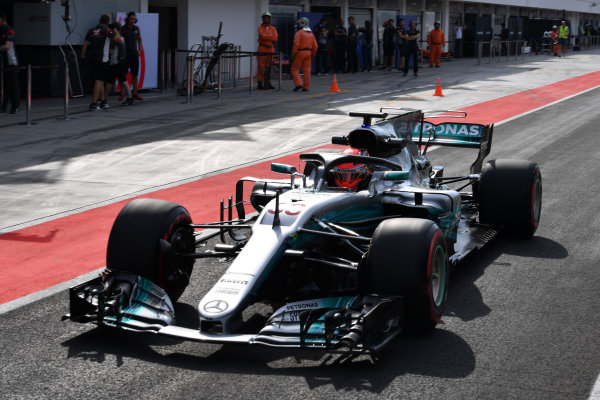 Hungaroring, Budapest, Hungary.  Wednesday 2 August 2017. George Russell, Mercedes F1 W08 EQ Power+, leaves the pits with a halo. World Copyright: Mark Sutton/LAT Images  ref: Digital Image SUT_Hungarian_F1_T_1516200