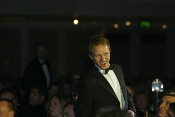 2003 AUTOSPORT AWARDS, The Grosvenor, London. 7th December 2003.Petter Solberg makes his way to the stage to receive International Rally Driver of the year.Photo: Peter Spinney/LAT PhotographicRef: Digital Image only