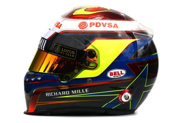 Albert Park, Melbourne, Australia. Helmet of Pastor Maldonado, Lotus F1.  Thursday 12 March 2015. World Copyright: LAT Photographic. ref: Digital Image 2015_Helmet_030