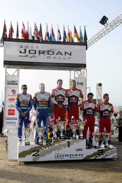 Top three crews on the podium. World Rally Championship, Rd4, Rally Jordan, Dead Sea, Amman, Jordan, Day 3, Saturday 16 April 2011.