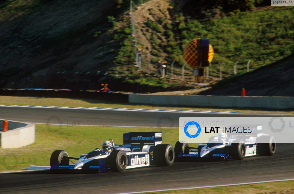 Jerez, Spain. 11-13 April 1986. Riccardo Patrese (Brabham BT55 BMW), retired, leads Elio de Angelis (Brabham BT55 BMW), retired, action. World Copyright: LAT Photographic.Ref:  86ESP34.