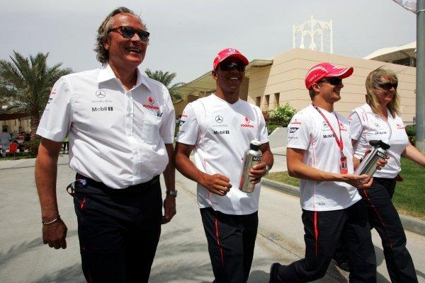 (L to R): Mansour Ojjeh (KSA), Lewis Hamilton (GBR) McLaren, Heikki Kovalainen (FIN) Mclaren and Ellen Kolby (GBR) Mclaren  Formula One World Championship, Rd 3, Bahrain Grand Prix, Race, Bahrain International Circuit, Bahrain, Sunday 6 April 2008.