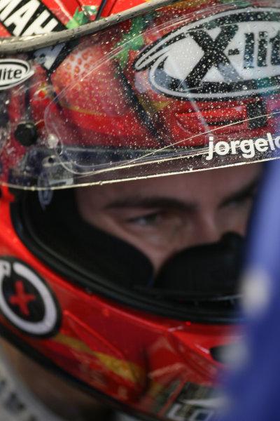 Ricardo Tormo Circuit, Valencia, Spain.24th - 26th October 2008.Rain on Jorge Lorenzo's visor.World Copyright: Martin Heath / LAT Photographicref: Digital Image BPI_Moto 64bw