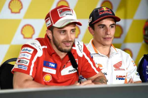 2017 MotoGP Championship - Round 17 Sepang, Malaysia. Thursday 26 October 2017 Marc Marquez, Repsol Honda Team, Andrea Dovizioso, Ducati Team World Copyright: Gold and Goose / LAT Images ref: Digital Image 701409