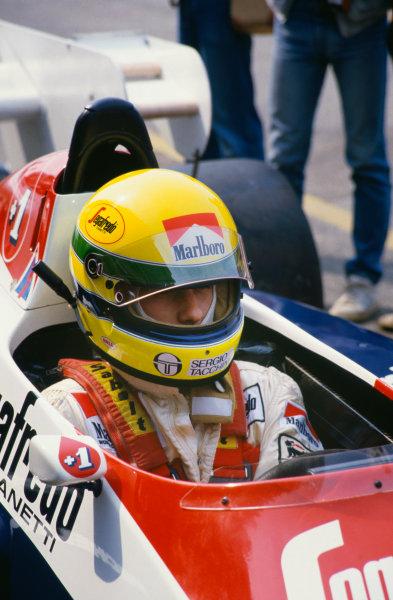 1984 Dutch Grand Prix. Zandvoort, Holland. 24-26 August 1984. Ayrton Senna (Toleman TG184-Hart), retired, portrait.  World Copyright: LAT Photographic. Ref:  84 HOL aa
