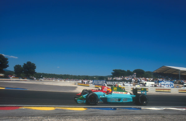 1990 French Grand Prix.Paul Ricard, Le Castellet, France.6-8 July 1990.Mauricio Gugelmin (Leyton House CG901 Judd) moves over to let Alain Prost (Ferrari 641) past. Ref-90 FRA 10.World Copyright - LAT Photographic