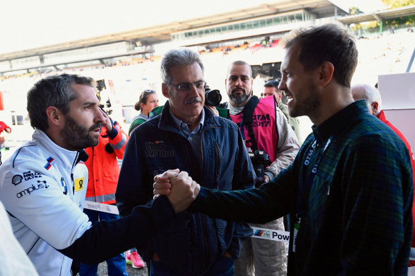Timo Glock (GER), Sebastian Vettel (GER) and Dr. Mario Theissen (GER) at Audi Sport TT Cup, DTM Championship, Hockenheim, Germany, 14-15 October 2017.