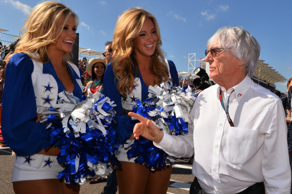 Bernie Ecclestone (GBR) CEO Formula One Group (FOM) on the grid with grid girls. Formula One World Championship, Rd18, United States Grand Prix, Race, Austin, Texas, USA, Sunday 17 November 2013. BEST IMAGE