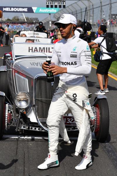 Lewis Hamilton (GBR) Mercedes AMG F1 on the drivers parade at Formula One World Championship, Rd1, Australian Grand Prix, Race, Albert Park, Melbourne, Australia, Sunday 26 March 2017.