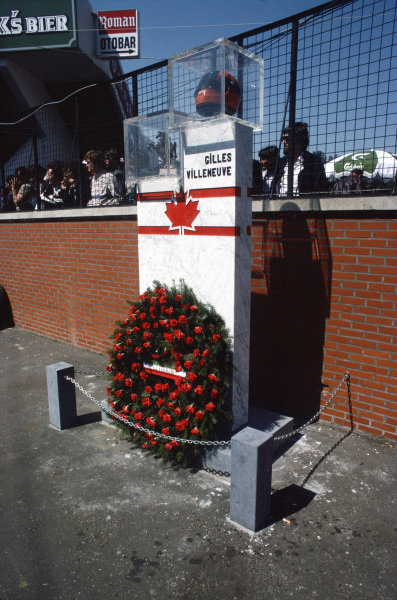 A memorial to Gilles Villeneuve, who lost his life during the 1982 Belgian Grand Prix weekend.