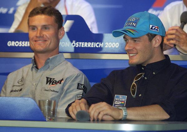 2000 Austrian Grand Prix.A1-Ring, Zeltweg, Austria.14-16 July 2000.David Coulthard (McLaren Mercedes) and Alexander Wurz (Benetton Playlife) in a press conference.World Copyright - Etherington/LAT Photographic