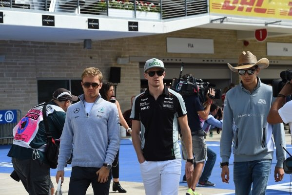 Nico Rosberg (GER) Mercedes AMG F1, Nico Hulkenberg (GER) Force India F1 and Esteban Ocon (FRA) Manor Racing on the drivers parade at Formula One World Championship, Rd18, United States Grand Prix, Race, Circuit of the Americas, Austin, Texas, USA, Sunday 23 October 2016.